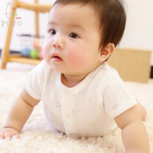 【メール便OK(03)】首すわり前の赤ちゃんにもおすすめ 前開きロンパース 半袖 木馬柄 綿100% 60-70cm 日本製
