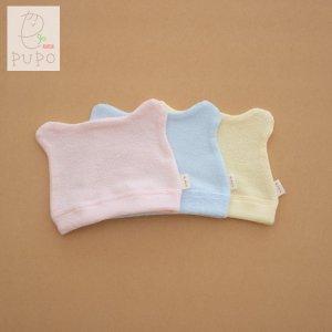 【メール便OK(03)】PUPO 赤ちゃんの帽子 耳付き 両面パイル 綿100% ピンク/ブルー/クリーム 日本製