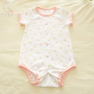 【メール便OK(03)】 首すわり前の赤ちゃんにもおすすめ 前開きロンパース 半袖 花柄 60-70cm ベビー 日本製