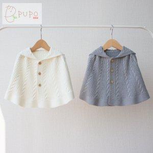 PUPO ベビーポンチョ ケーブル編み オフホワイト/グレー 60-90cm 洗濯OK 日本製