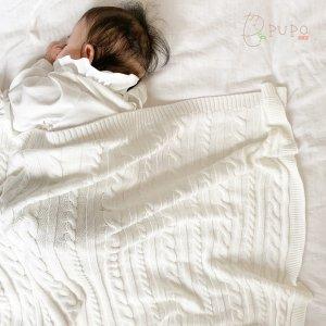 ご家庭で洗えます!いつでも清潔、コットン100%のケーブル編みブランケット 85cm×85cm