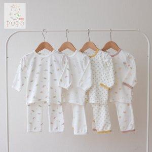 【メール便OK(10)】PUPO スムース素材のパジャマ コーマスムース 70/80/90cm 花柄/恐竜柄 ベビー パジャマ お部屋着 日本製