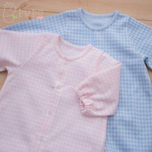 【メール便OK(07)】PUPO 2wayドレス 長袖 ジャガードニット 50-60cm 綿100% ピンク/ブルー 日本製