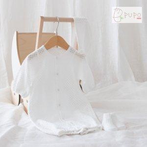 【メール便OK(10)】セットでお得 PUPO お出かけ3点セット 透かし編み2wayドレス/ボンネット/靴下 新生児 日本製