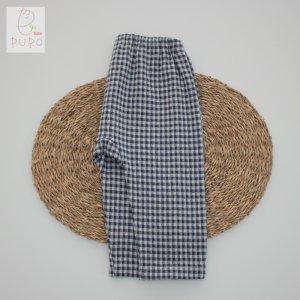 【メール便OK(05)】PUPO 綿100% ロングズボン ギンガムチェック ネイビー/ブルー 70/80/90cm 日本製