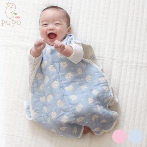 PUPO 6重ガーゼスリーパー ぞう柄 ひつじ柄 出産祝い お風呂上がり 綿100% 寝冷え防止 日本製 SORRY!ネコポス不可 ベビー