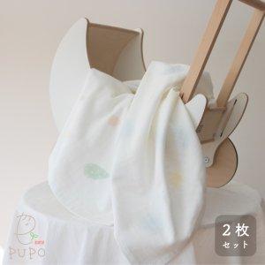 薄手ですぐ乾く!表ガーゼ正方形タオルの2枚セット ふんわりドット柄/しずく柄 90×90cm 泉州タオル