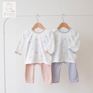 【メール便OK(10)】パパママも赤ちゃんもみんなストレスフリー!お着替え簡単&お腹が出にくい長袖パジャマ 70/80/90cm/100cm フルーツ柄/ライオン柄