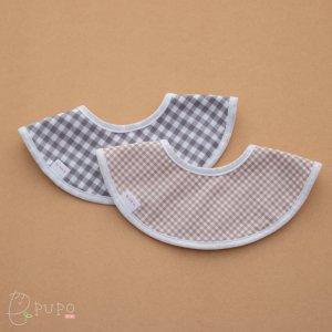 【メール便OK(03)】リバーシブルで使える!ぐるっとまあるい形のスタイ ギンガムチェック グレー ベージュ はりねずみ柄 日本製