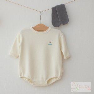 【メール便OK(8)】PUPO 秋のコーディネートセット マシュマロゆったりロンパース まっすぐ靴下 ハイソックス 70cm 80cm 日本製