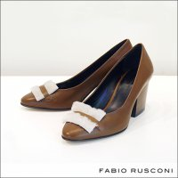 FABIO RUSCONI(ファビオルスコーニ)ファイクファー付チャンキーヒールパンプス l-929-574 BULL-MOGANO