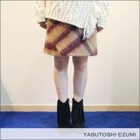 YASUTOSHI EZUMI(ヤストシエズミ)シャギーチェックボックススカート 16SK03S BEG/RED