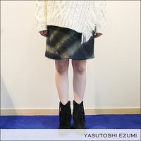 YASUTOSHI EZUMI(ヤストシエズミ)シャギーチェックボックススカート 16SK03S NVY/KHA