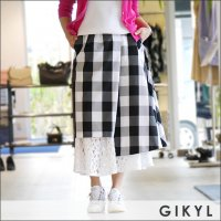 GIKYL(ジキル) アシンメトリーチェック柄レーススカート CMB SK BLK WHT
