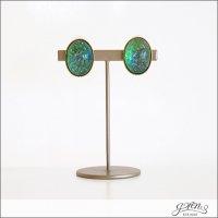 gren(グリン)ヴィンテージガラスストーンイヤリング ER vintage glass stone green
