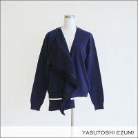 YASUTOSHI EZUMI(ヤストシエズミ)レイヤードフリンジカーディガン 18KC01 NAVY
