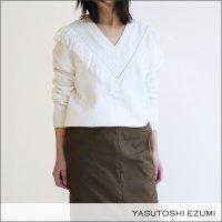 YASUTOSHI EZUMI(ヤストシエズミ)Vネックフリンジニットプルオーバー 18KP03 WHITE