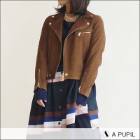 A PUPIL(アピューピル)ヤギ革スエードライダースジャケット RIDERS JKT-SUEDE BROWN