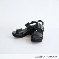 CORSO ROMA,9(コルソローマノーヴェ)レザーサンダル 8217/Z DIVE NERO