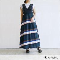 A PUPIL(アピューピル)レーストップボーダーワンピース/ドレス LNGRY DR