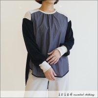 irise(イリゼ) コンビ素材配色トップス K8023 ブラック