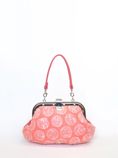 Coral pink Pig suede with Polka dot