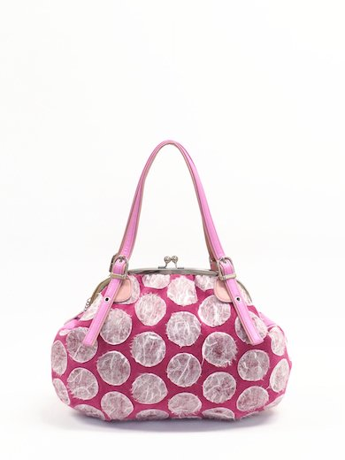 Cherry pink Pig suede with Polka dot