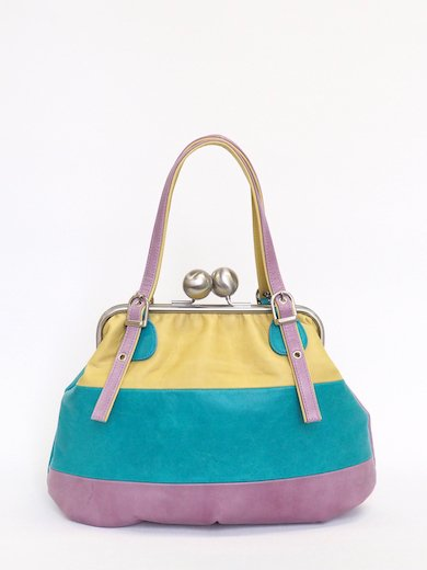 Yellow Turquoise Pink Lether combi