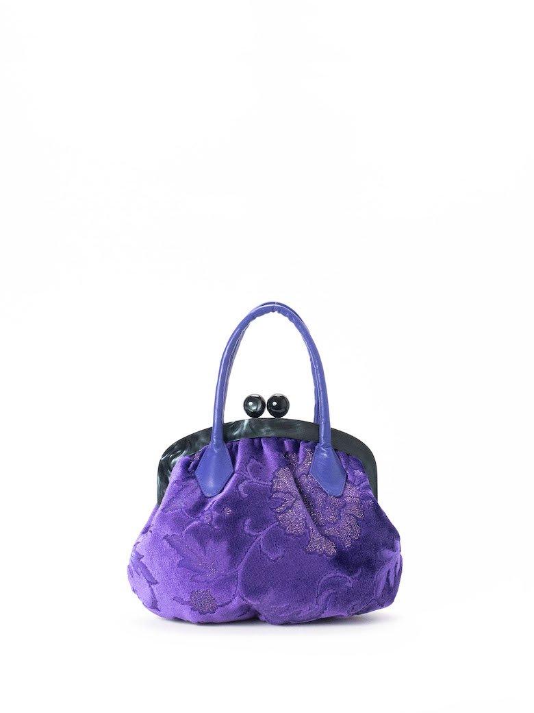 パープル/紫 光る織り模様 アラベスク