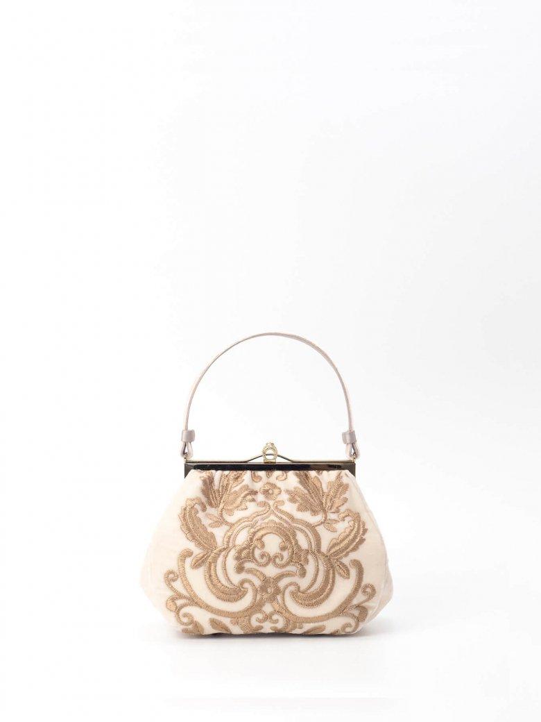 オフホワイト/白 ベルベット ゴールド アラベスク 刺繍