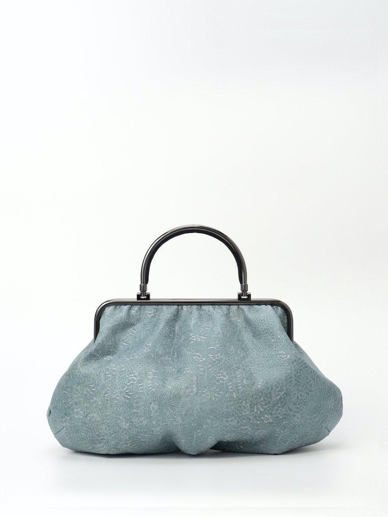 サックスブルー/青 小花模様の牛革 オールレザー
