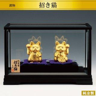 純金製置物 招き猫2点セット 高さ8.2cm Lサイズ