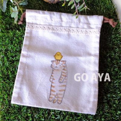 猫の巾着(ピヨピヨと茶トラ)