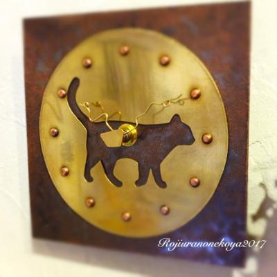 四角い掛け時計(歩く猫)