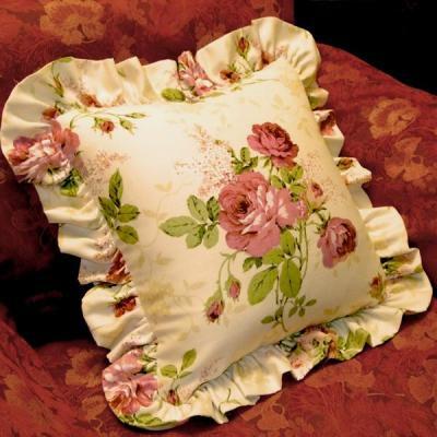 期間限定SALE バラ柄フリルクッション 巾40cmX丈40cm