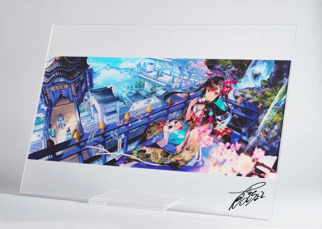 藤ちょこ直筆サイン入りアクリルアートボード�「彩幻に臨む金魚茶屋」【A2サイズ】