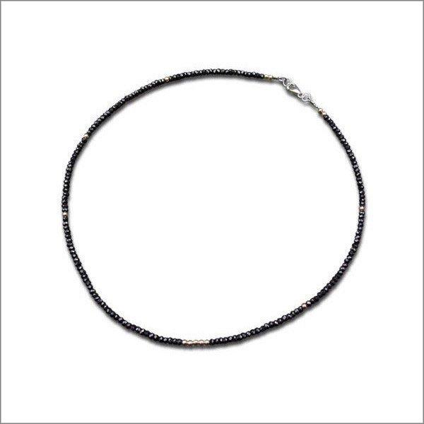 ブラックスピネル w/14KGF ネックレス  ショート