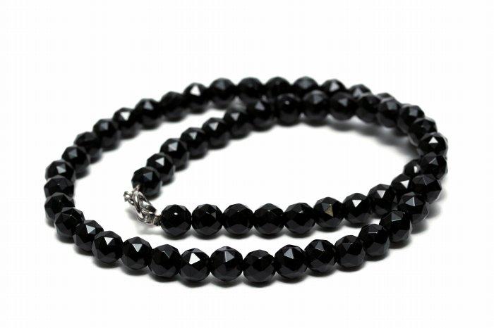 【AAAランク】モリオン(黒水晶)ネックレス【カット6mm玉】 MORNE-001