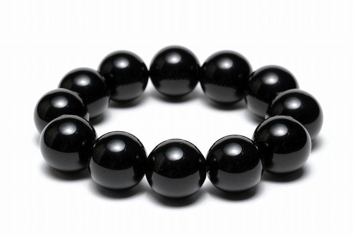 【AAAランク】モリオン(黒水晶)ブレスレット【18mm玉】MOBMO-107