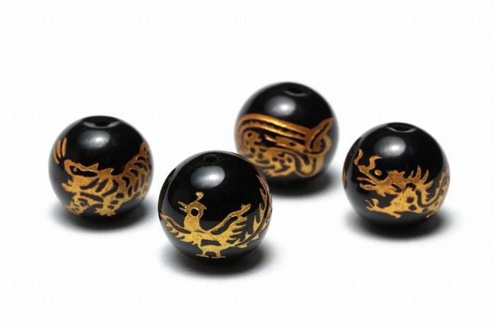 【AAAランク】モリオン(黒水晶)四神ビーズ 粒売り【8・10・12mm】  MOBMO-4000