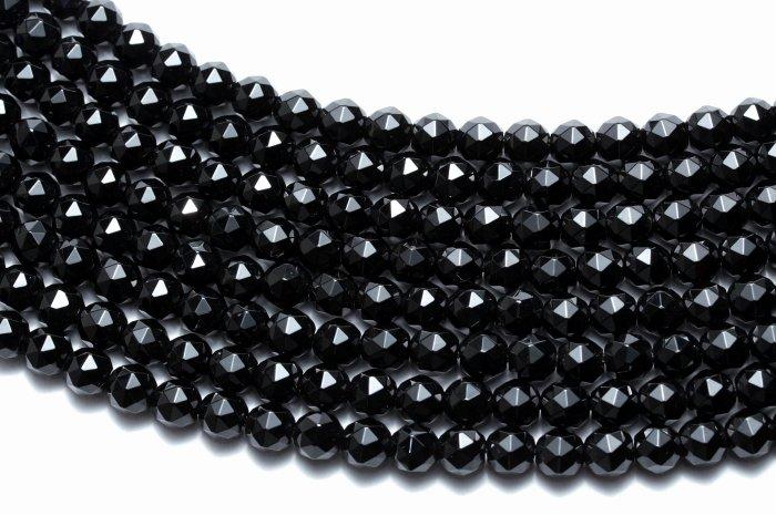 【AAAランク】モリオン(黒水晶)カットビーズ 【6mm】 半連(約20cm)〜 MOBMO-1011