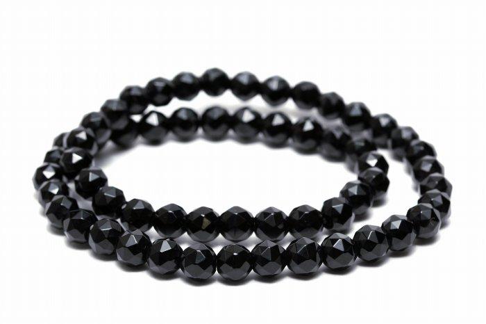 【AAAランク】モリオン(黒水晶)2連ブレスレット【カット6mm玉】MODBR-009