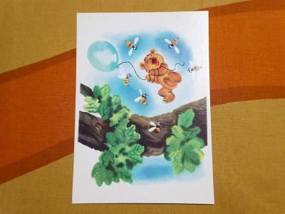 Russian Vintage Winnie the Pooh Postcard / ロシア製 くまのプーさん ビンテージ ポストカード/No.1
