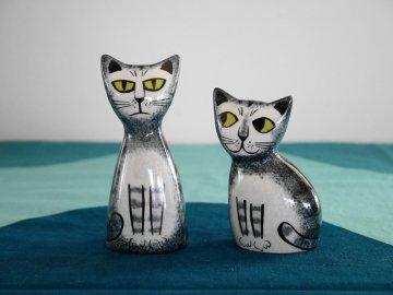<img class='new_mark_img1' src='https://img.shop-pro.jp/img/new/icons48.gif' style='border:none;display:inline;margin:0px;padding:0px;width:auto;' />Cat Salt and Pepper Shekers by Hannah Turner / Hannah Turner さんデザイン グレートラねこの ソルト&ペッパー入れ