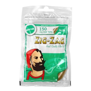 "ZIG-ZAG / ""MENTHOL SLIM"" 150 Filter Tips / メンソール コットン フィルター ""スリム"" 100個入り"