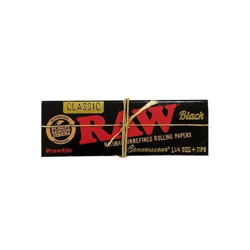 【メール便対応】 RAW BLACK 1 1/4サイズ チップ付き 76mm ブラック