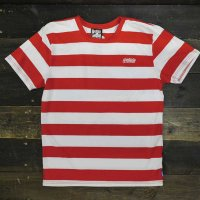 [CLEARANCE SALE/半額!!50%OFF!!]BALANCE STREET WEAR THE LOCK BORDER T-SHIRTS[WHT/RED]