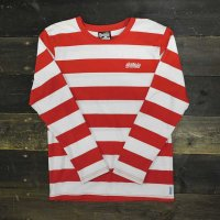 [CLEARANCE SALE/半額!!50%OFF!!]BALANCE STREET WEAR THE LOCK BORDER L/S T-SHIRTS[WHT/RED]