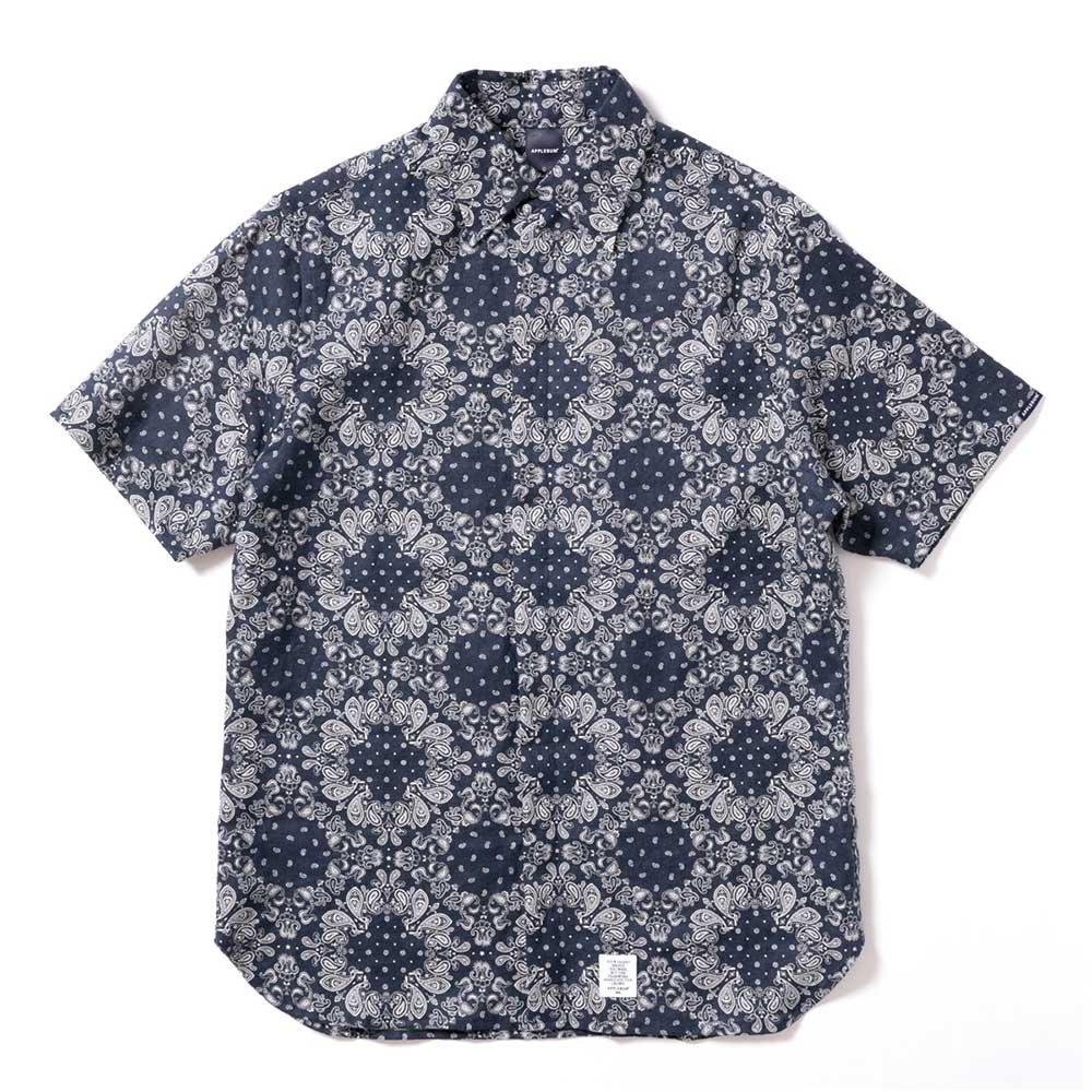 APPLEBUM Linen Paisley S/S Shirt [NAVY]