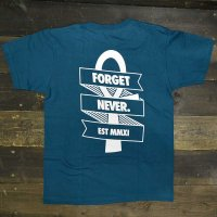 FORGET NEVER  RIBBON ANKH T-SHIRT[EMERALD GREEN/WHT]